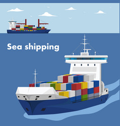 Commercial sea shipping banner template vector