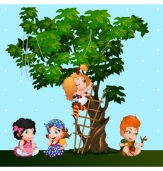 Company kids girls and a boy playing near the tree vector image