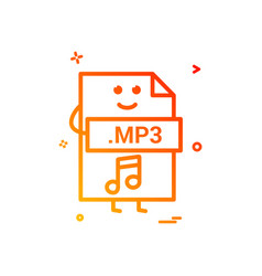 computer mp3 file format type icon design vector image