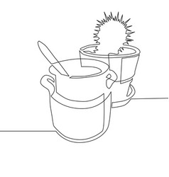 Continuous one line drawing - clay pot with spoon vector