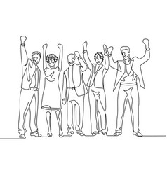 Continuous one line drawing happy team office vector
