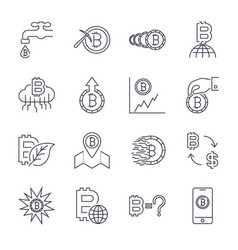 cryptocurrency line icons set collection vector image