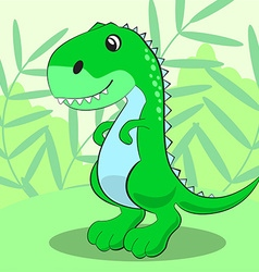 Cute dinosaur standing on a green meadow and vector