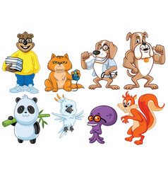 cute funny witty animal character design cartoon vector image
