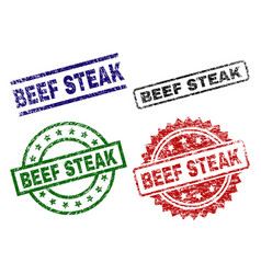 damaged textured beef steak seal stamps vector image