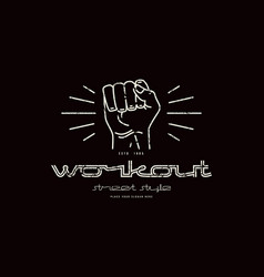 emblem workout club with a image a fist vector image