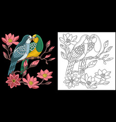 Embroidery love birds design vector