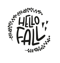 Fall lettering decorative autumn poster in black vector