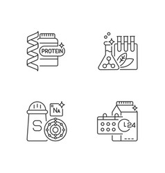 food supplements linear icons set vector image
