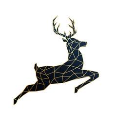 geometric jumping deer polygonal golden deer vector image