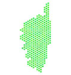 Green hexagon corsica france island map vector