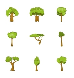 Green tree icons set cartoon style vector image