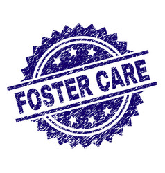 Grunge textured foster care stamp seal vector