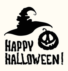 Happy halloween title with witch hat spooky face vector