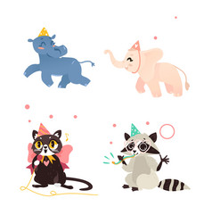 hippo elephant cat and raccoon at birthday party vector image