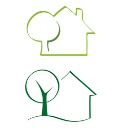 House and tree icons vector image