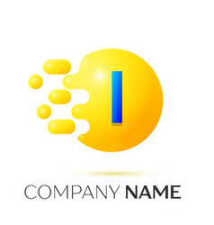 I letter splash yellow dots and circle bubble vector