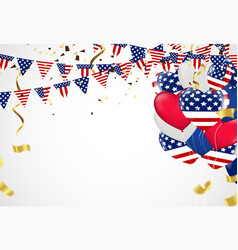 independence day background with american flag vector image
