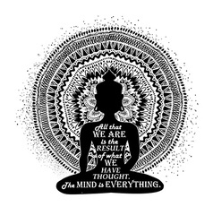 Isolated Buddha Silhouette And Mandala Design vector image