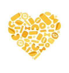 Italian pasta heart from different types fusilli vector
