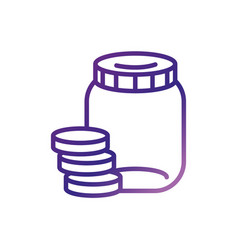 Jar with money coins charity help donation vector