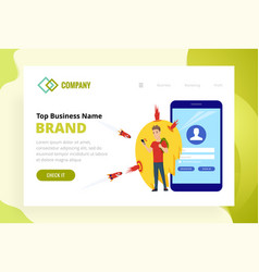 Landing page template security web site modern vector