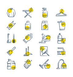 Laundry and washing service line icons set vector