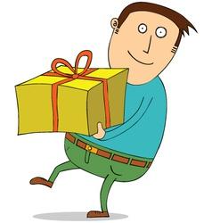 Man holding present vector