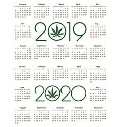 Marijuana calendar for 2019 and 2020 year vector