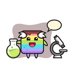 Mascot character rainbow cake as a scientist vector