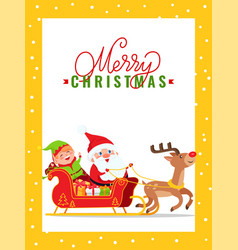 merry christmas major card with santa claus elf vector image