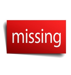 Missing red paper sign on white background vector