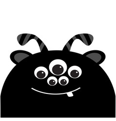 Monster head silhouette with ears tooth and horns vector