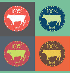 Natural fresh beef food set vector