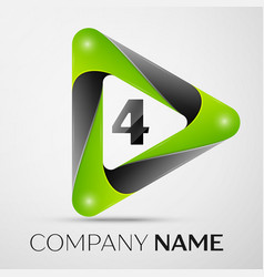 number four logo symbol in the colorful triangle vector image