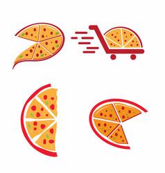 Pizzeria logo design template set vector
