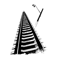 Railway and lamp hand drawn by ink vector