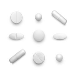 Realistic pills set white drug capsules vector