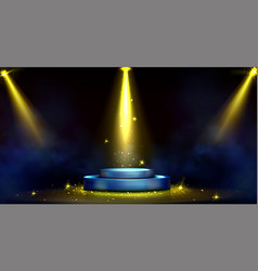 round podium with spotlights and golden confetti vector image