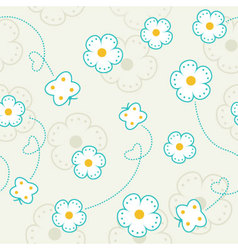 Seamless pattern with flowers and butterflies vector