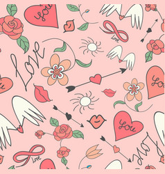 seamless pattern with hearts and arrows vector image