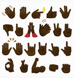 Set dark black african american hands icons and vector