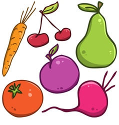 Set Fruits and vegetables vector