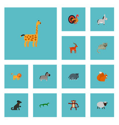 Set of animal icons flat style symbols with dog vector