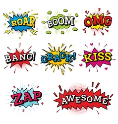 Set of Comic Text in Pop Art Style vector image