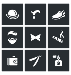 Set of Gentleman Icons Bowler Cane Shoes vector