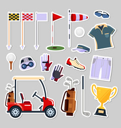 set of patch badges golf equipment icon logo in vector image