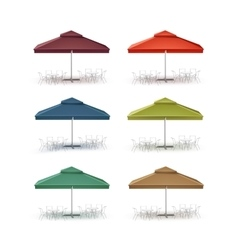 Set of Patio Outdoor Market Cafe Square Parasol vector