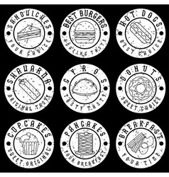 set of vintage grunge labels of food vector image