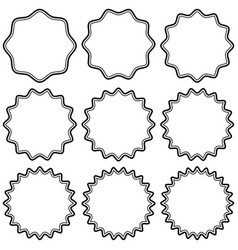 set round vintage stickers with zigzag edge vector image